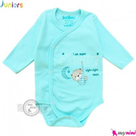 بادی بلند زیردکمه دار نوزاد نخ پنبه ای آبی جونیورز Juniors blue kids clothes