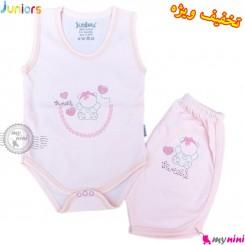ست رکابی زیردکمه دار و شلوارک بچه گانه مارک جونیورز صورتی Juniors pink baby clothes set