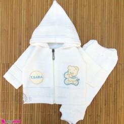 ست سویشرت و شلوار نوزادی بافتنی رنگ شیری پسر 0 تا 6 ماه خرسی baby warm clothes set