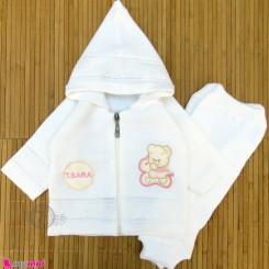 ست سویشرت و شلوار نوزاد و کودک بافتنی رنگ شیری دختر baby warm clothes set