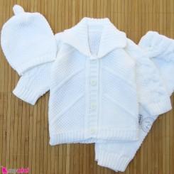 ست 3 تکه بافتنی نوزاد کت و شلوار و کلاه 3 تا 9 ماه شیری Baby knitted clothes set
