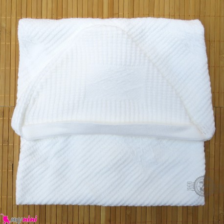پتو بافت نوزاد و کودک کلاه دار شیری Baby knitted blanket