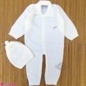 سرهمی بافتنی و کلاه نوزاد و کودک 2 تکه 3 تا 9 ماه شیری Baby knitted warm sleepsuits