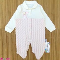 سرهمی دانتل نوزاد و کودک نخ پنبه ای مارک نسیکسز ترکیه صورتی یخی necixs baby cotton overalls