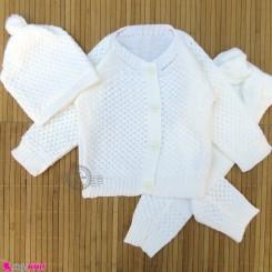 ست 3 تکه بافتنی بچه گانه ژاکت و شلوار و کلاه 3 تا 9 ماه شیری Baby knitted clothes set