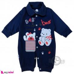 سرهمی نوزاد و کودک سرمه ای طرح خرسی Baby sleepsuits