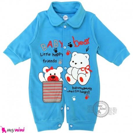 سرهمی نوزاد و کودک آبی طرح مزرعه Baby sleepsuits