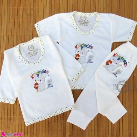 ست لباس نوزاد و کودک 3 تکه طرح سنجاب رنگ شیری Baby clothes set