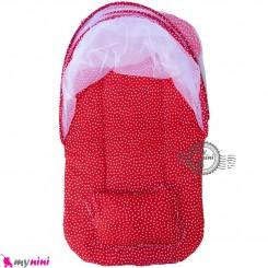 پشه بند نوزاد و کودک تشک دار مسافرتی قرمز خالدار Espring Baby mosquito net