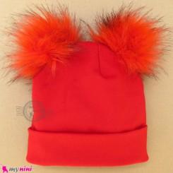 کلاه کشی پوم پوم نوزاد و کودک قرمز baby cotton pom pom hat