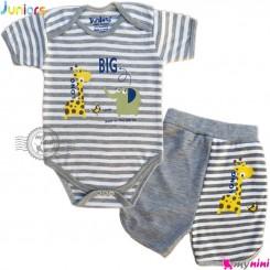 ست آستین کوتاه زیردکمه دار و شلوارک نوزاد و کودک نخی جونیورز طوسی 2 عددی Juniors baby gray clothes