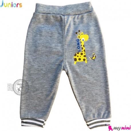 شلوار نوزاد و کودک نخی جونیورز طوسی Juniors baby gray pants
