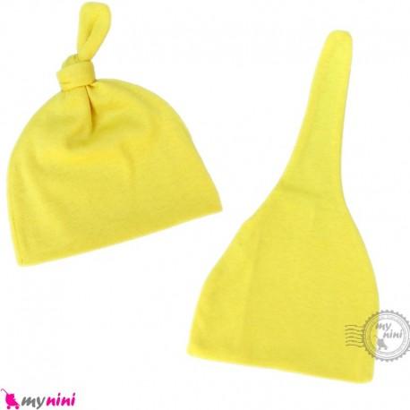 کلاه کشی وروجکی نوزاد و کودک 2 حالته زرد baby cotton hat