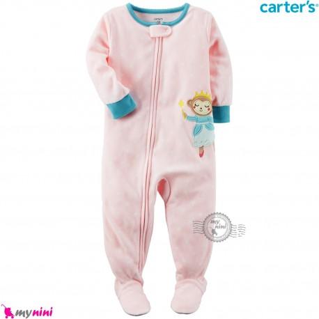 سرهمی گرم مخمل نوزاد و کودک مارک کارترز اورجینال صورتی دختر خالدار Carters baby fleece pajamas