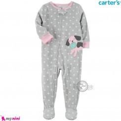 سرهمی گرم مخمل نوزاد و کودک مارک کارترز اورجینال طوسی صورتی خالدار Carters baby fleece pajamas