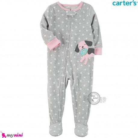 سرهمی گرم مخمل نوزاد و کودک مارک کارترز اورجینال طوسی خالدار Carters baby fleece pajamas