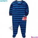 سرهمی گرم مخمل نوزاد و کودک مارک کارترز اورجینال سرمه ای راه راه آتشنشانی Carters baby fleece pajamas