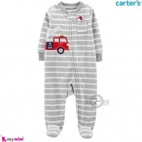 سرهمی گرم مخمل نوزاد و کودک مارک کارترز اورجینال طوسی راه راه Carters baby fleece pajamas