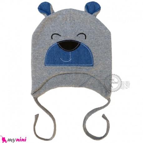 کلاه کشی رو گوشی نوزاد و کودک 2 لایه خرسی نوک مدادی baby cotton hat