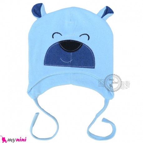 کلاه کشی رو گوشی نوزاد و کودک 2 لایه خرسی آبی baby cotton hat