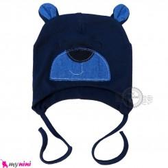 کلاه کشی رو گوشی نوزاد و کودک 2 لایه خرسی سرمه ای baby cotton hat