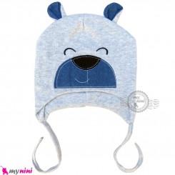 کلاه کشی رو گوشی نوزاد و کودک 2 لایه خرسی طوسی baby cotton hat