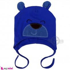 کلاه کشی رو گوشی نوزاد و کودک 2 لایه خرسی آبی کاربنی baby cotton hat