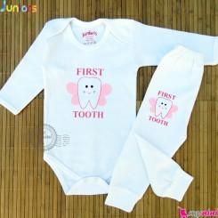لباس جشن دندونی دختر جونیورز نخ پنبه ای baby celebrate teeth