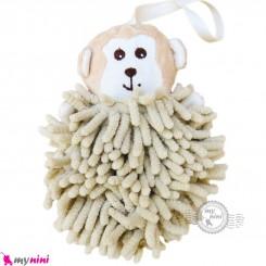 لیف نوزاد عروسکی رشته ای میمون کرمی baby bath fiber
