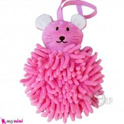 لیف عروسکی نوزاد رشته ای موش صورتی baby bath fiber