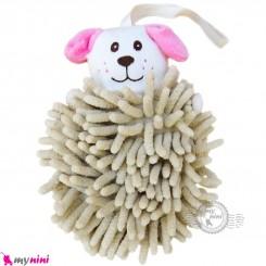 لیف عروسکی نوزاد رشته ای سگ کرمی baby bath fiber
