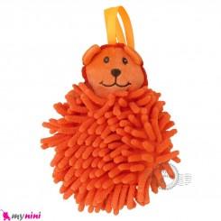 لیف عروسکی نوزاد رشته ای شیر نارنجی baby bath fiber
