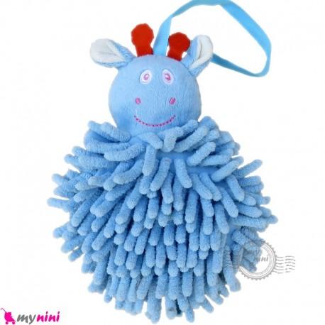 لیف عروسکی نوزاد رشته ای زرافه آبی baby bath fiber