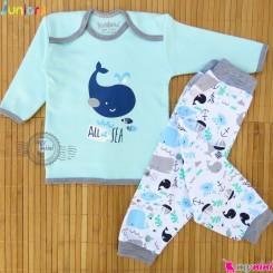 بلوز و شلوار نوزاد و کودک نخ پنبه ای آبی نهنگ مارک جونیورز Baby clothes set