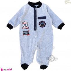سرهمی گرم مخمل نوزاد و کودک مارک زاف ترکیه اسپرت طوسی Zuff baby fleece pajamas