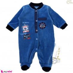 سرهمی گرم مخمل نوزاد و کودک مارک زاف ترکیه اسپرت سرمه ای Zuff baby fleece pajamas