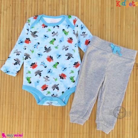 ست بادی و شلوار نخی نرم مارک اورجینال کیدگِتز آبی دریایی Kidgets baby bodysuits and pants set