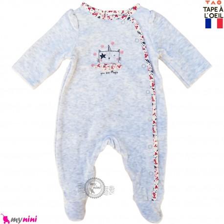 سرهمی گرم دخترانه مخمل مارک تِیپ لویل فرانسه طوسی گربه  Tape A L,Oeil baby fleece pajamas