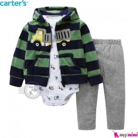 3 تکه کارترز اورجینال گرم پسرانه سبز سرمه ای کامیون Carter's baby boy hooded cardigan set