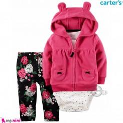 3 تکه لباس کارترز اورجینال گرم دخترانه سرخابی Carter's baby boy hooded cardigan set