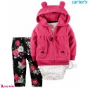 3 تکه لباس کارترز اورجینال گرم دخترانه سرخابی Carter's baby girl hooded cardigan set