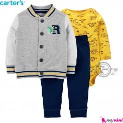 3 تکه کارترز اورجینال اسپرت پسرانه طوسی زرد Carter's baby boy coat set