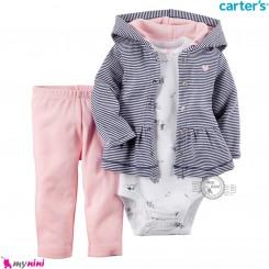 3 تکه لباس کارترز اورجینال دخترانه سویشرت چین دار راه راه سرمه ای Carter's baby girl hooded cardigan set