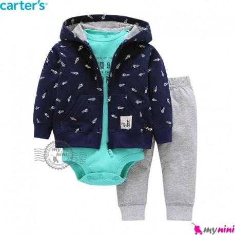 3 تکه کارترز اورجینال پسرانه سویشرت سرمه ای Carter's baby boy hooded cardigan set