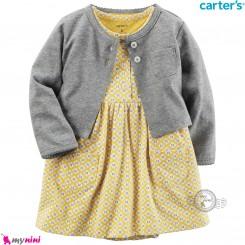 ست 2 تکه کت و سارافون کارترز اورجینال دخترانه طوسی زرد Carter's baby girl clothes set