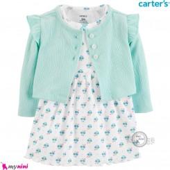 ست 2 تکه کت و سارافون کارترز اورجینال سبز گلدار Carter's baby girl clothes set