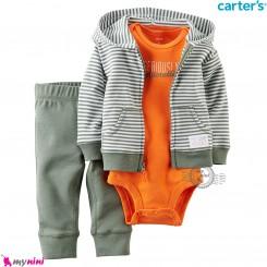 3 تکه کارترز اورجینال پسرانه سویشرت سبز راه راه Carter's baby boy hooded cardigan set