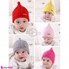 کلاه بافت نوزاد و کودک 2 لایه طرح بلفی مارک منچنیر Mencnier Baby cute cat warm hat