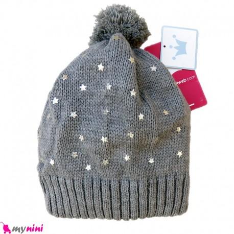 کلاه بافتنی بچگانه 2 لایه طوسی ستاره مارک ای پی کِی EPK Baby warm hat