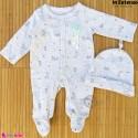 ست سرهمی و کلاه نوزاد و کودک نخ پنبه ای مارک اورجینال این اکستنسو طوسی ستاره Inextenso baby bodysuit